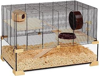 Ferplast Klatka dla chomika lub myszy KARAT 80 małych gryzoni, dwa poziomy z akcesoriami, ze szkła i metalowej siatki