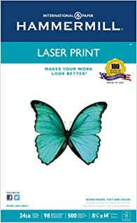 Hammermill 104612 Laser Print Office Paper, 98 Brightness, 24lb, 8-1/2 x 14, White, 500 Sheets/RM