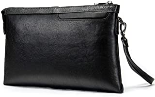 Hbssee- Business Casual Clutch Black Leather Men's Envelope Top Leather Men's Bag for Casual (Color : Black, Size : S)