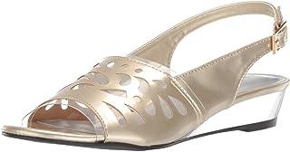Easy Street Women's Celebrate Slingback Sandal Wedge, Gold Patent, 6.5 M US