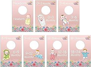 PaperKiddo 7 Baby Nursery Closet Organizer Dividers 0-24 Months Unisex Baby Floral Closet Size Hanger Organization Clothin...