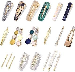 22Pcs Pearl Hair Clips - Holahoney Fashion Korean Style Pearls Hair Barrettes Sweet Artificial Macaron Acrylic Resin Barre...