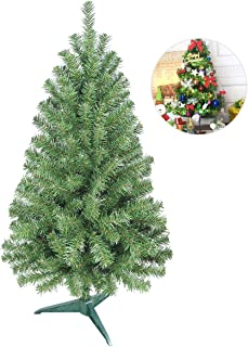 Gift Hunter PVC Artificial Christmas Tree with Multi-Color LED Lights and Decorations - 2.6 Feet, Green