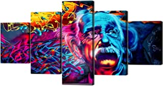 Modern Graffiti Albert Einstein Wall Art Stretched by Wooden Frame 5 Panels Einstein Picture Artwork Motivational Inspirational Science Posters for Living Room Bedroom Decor - 60