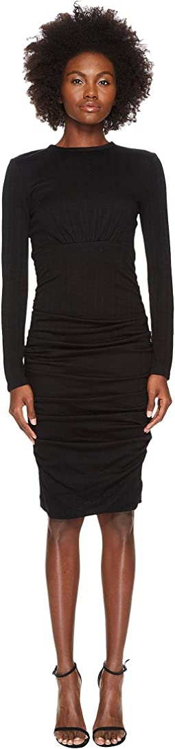 Wool Jersey Ruched Skirt Sheath Dress
