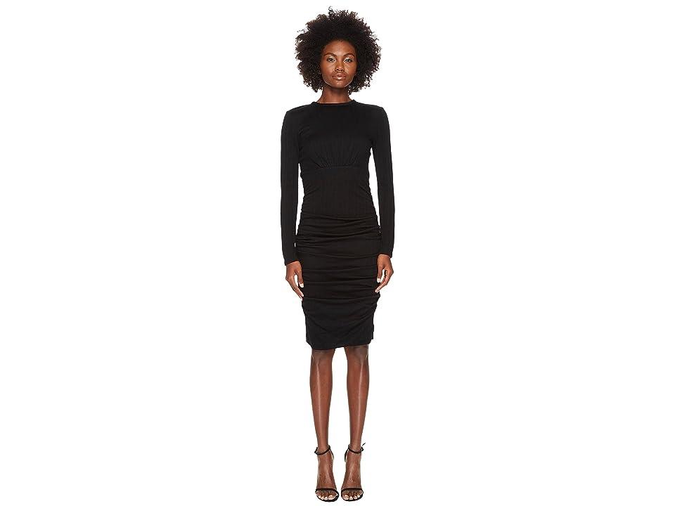 YIGAL AZROUEL Wool Jersey Ruched Skirt Sheath Dress (Black) Women