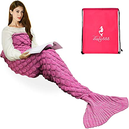 iBaby888 Wearable Mermaid Tail Blanket Crochet, All Seasons Warm Knitted Bed Blankets Sofa Living Room