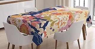 ABAKUHAUS Japonais Nappe, Fleurs Traditionnelles, Linge de Table Rectangulaire pour Salle à Manger Décor de Cuisine, 140 c...