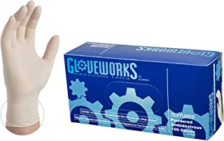 GLOVEWORKS Industrial White Latex Gloves - 4 mil, Powdered, Textured, Disposable, Large, TL46100-BX, Box of 100