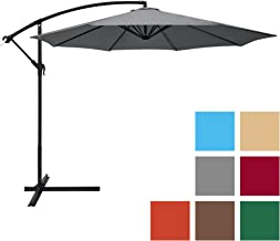 Best Choice Products 10-Foot Offset Hanging Aluminum Polyester Market Patio Umbrella w/ 8 Ribs and Easy Tilt Adjustment, Gray