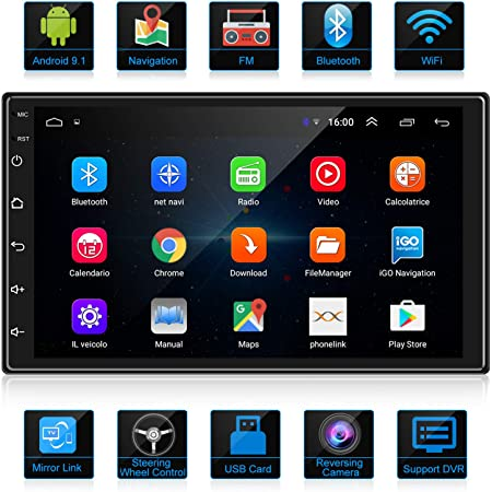 ANKEWAY 2021 New 7 Inch Android 9.1 Car Stereo Double Din with HiFi/WiFi/Bluetooth/GPS/RDS/FM, Car Radio with 1080P HD Touch Screen Multimedia Player+Mirror Link(Android/iOS)+Rearview Camera+Dual USB