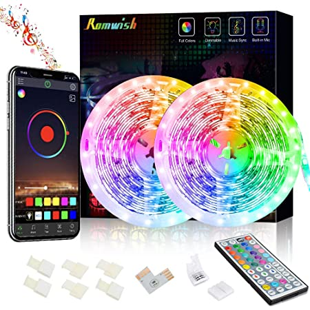 Tiras LED 10M, 5050 SMD Tira de Luces Led RGB Inteligentes, Sync to Music, con Control Remoto de 44 Botones & Control Bluetooth, para la Dormitorio, fiestas, DIY