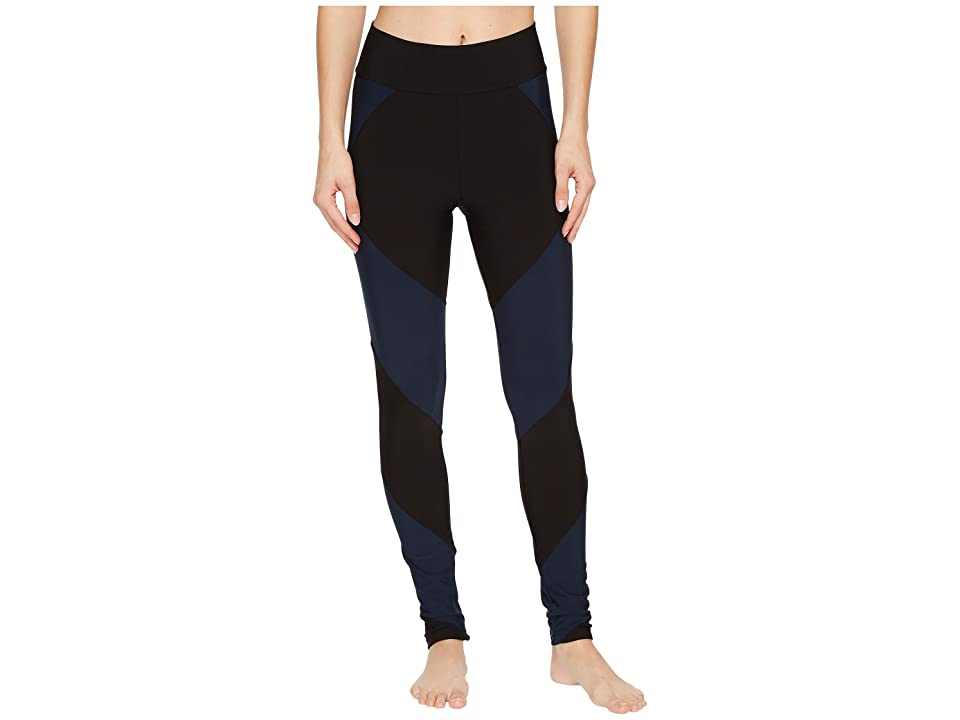 Plush Fleece-Lined Color Block Athletic Leggings (Black/Navy) Women's Casual Pants