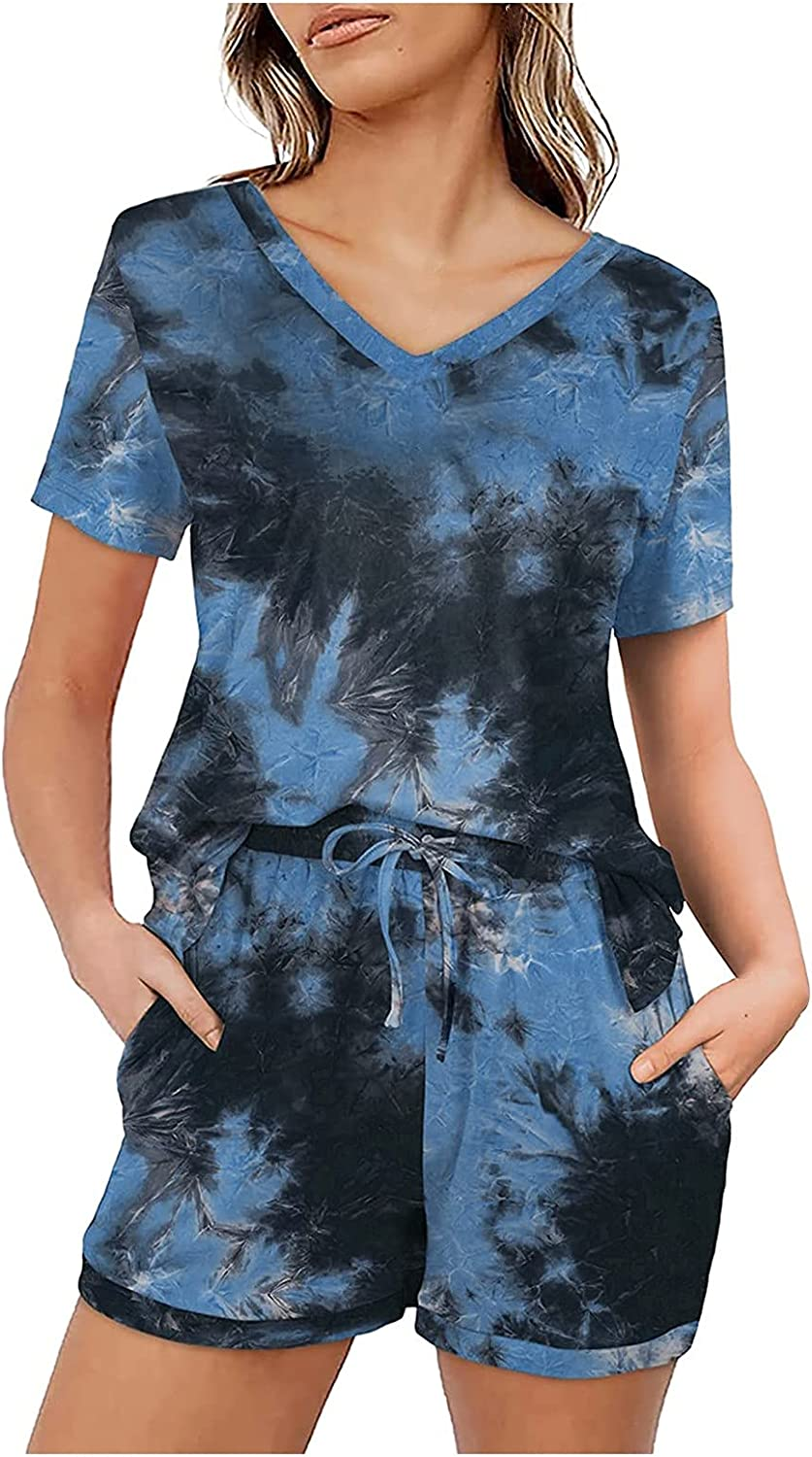 XinantimeWomen's Sportswear Tie-Dye V-Neck Short Sleeve Blouse and Elastic Waist Shorts with Pockets Two-Piece Suit Set