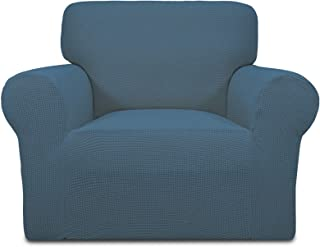 Best Easy-Going Stretch Sofa Slipcover 1-Piece Sofa Cover Furniture Protector Couch Soft with Elastic Bottom Kids,Polyester Spandex Jacquard Fabric Small Checks(Chair,Bluestone) Review