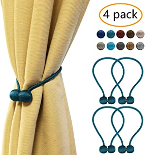 YOBAYE Magnetic Curtain Tiebacks, 4 Pack Drape Tie Backs Decorative Curtain Rope Holdbacks for Home Kitchen Office Window Drapes, No Drilling & Holes Required,Turquoise