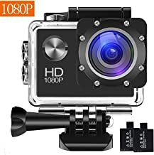 Action Camera, 12MP 1080P 2 inch LCD Screen, Waterproof Sports Cam 120 Degree Wide Angle Lens, 30m Sport Camera DV Camcorder with with 2 Rechargeable Batteries and Mounting Accessories Kit G006