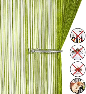 AIZESI Door String Curtain Plain Tassel Door Curtain Fly Bug Screen String for Doorways Divider or Window Curtain Panel 90x200cm, Fly Screen Panel