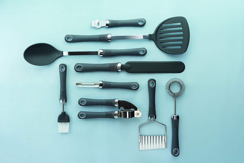 Silber//Grau 28 x 18 x 18 cm Kitchen Craft Stampfer mit Komfortgriff Edelstahl