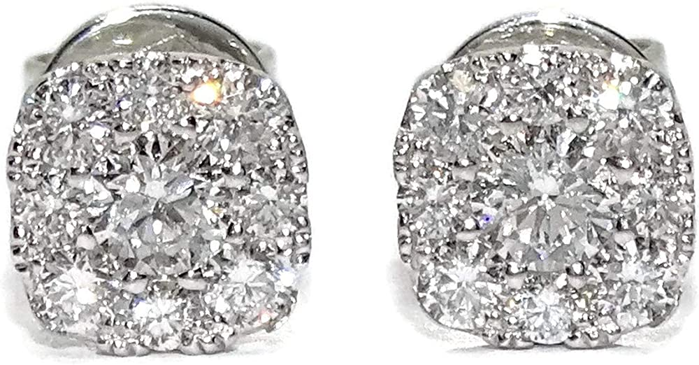 Orecchini con diamanti  da 0,41 ct, 2 diamanti centrali da 0,16 ct e 16 diamanti intorno a 0,25 ct, oro bianco 91787491