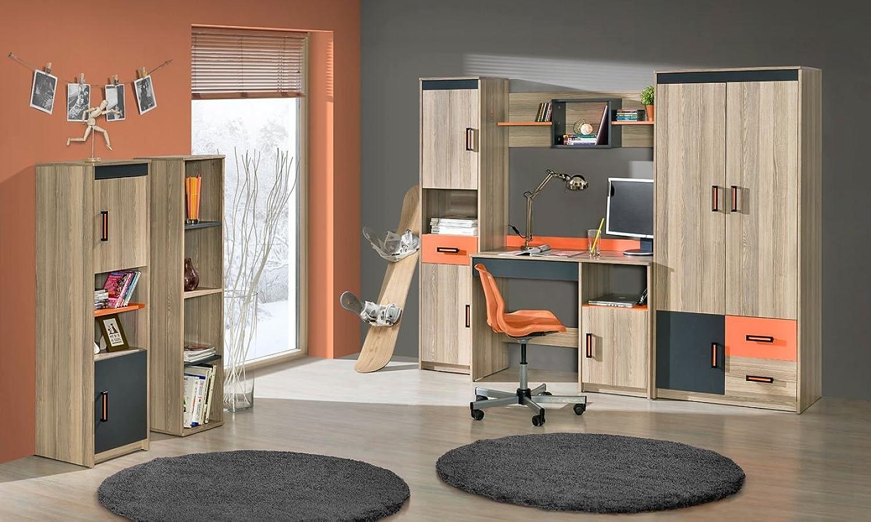 Jugendzimmer Komplett - Set F Marcel, 6-teilig, Farbe  Esche Orange   Grau   Braun