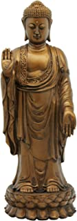 No Fear Standing Buddha Statue, Bronze, 9.5 Inches Tall
