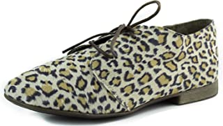 Breckelle's Women's Sandy-21 Animal Prints Laced Up Oxford Fashion Shoes
