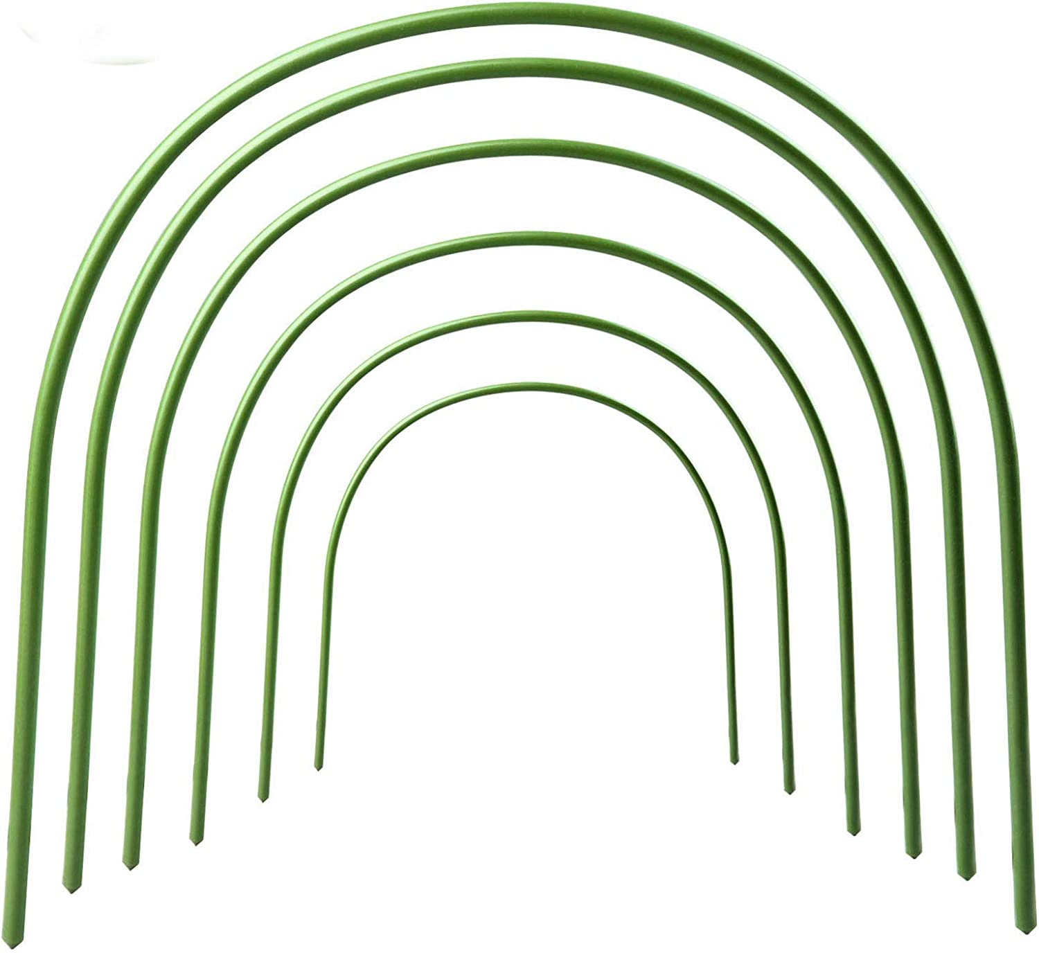 Ewer 6 PCs Greenhouse Hoops Rust-Free Grow Tunnel 4Ft Plant Support Hoops Long Steel with Plastic Coated Hoops for Plant Cover Support and Garden Fabric, 19.7 H x 15.7 W