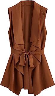 SheIn Women's Lapel Sleeveless Open Front Vest Cardigan Tie Waist Jacket Outerwear
