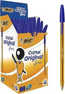 BIC Cristal Original Fine - Bolígrafos punta fina (0.8 mm), Caja de 50 unidades, Color Azul