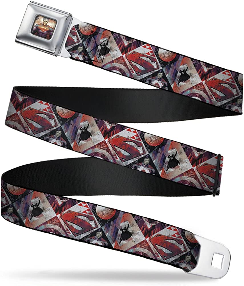 Buckle-Down Seatbelt Belt Superman WSM057 , New 52 Superman Shield/Silhouette/Pose Geometric , 1.5