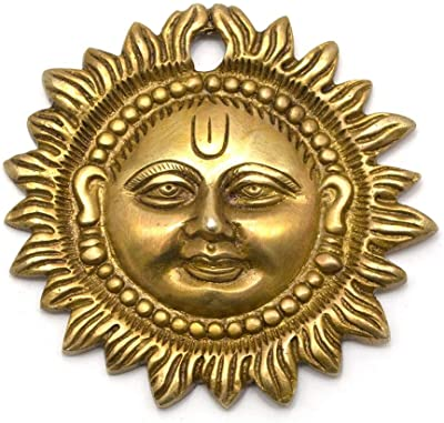 SkyWalker MetalBrass Sun| Brass Surya Wall Hanging | Home Decor |Metal Handmade Decorative Wall Hanging Sun Idol Face for Positivity at Home & Office (Size-4 inch)