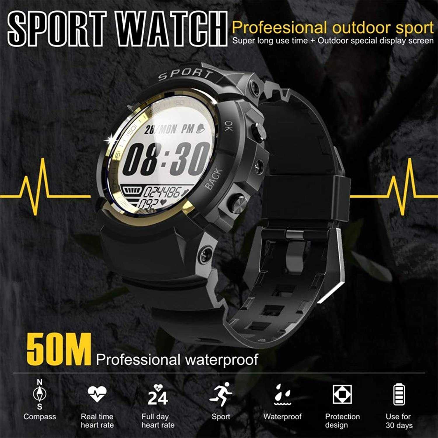 Dinglong Men Sports Smart Watch Professional IP68 Waterproof Fitness Tracker with Heart Rate Monitor Compass for Outdoor Hiking Climbing, 1.2 inch Screen Stopwatch (gold)