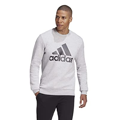 adidas Must Have Badge of Sport Crew Neck Fleece (Medium Grey Heather) Men
