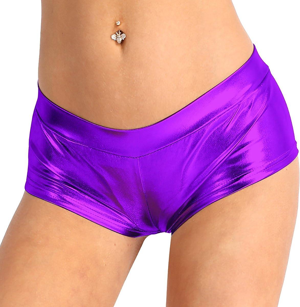 Hansber Womens Shiny Metallic Dance Booty Shorts Wet Look Rave Hot Pant Clubwear Bottoms