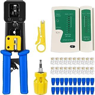 RJ45 Crimp Tool Kit Pass Thru Cat5 Cat5e Cat6 RJ45 Crimping Tool with 20PCS RJ45 Cat6 Pass...