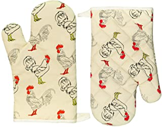 Oven Mitts Funny Cute Cotton Heat Resistant 12 Inch for Kitchen Cooking Baking, Rooster Pattern
