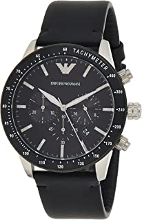 Emporio Armani Men's Black Dial Leather Analog Watch - AR11243