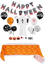 CLISPEED Halloween Party Decoration Set Happy Halloween Banner Bloody Hand Balloons Hanging Ghost Spider Pumpkin Table Cov...