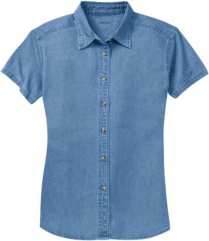 Joe's USA Ladies Short Sleeve Value Denim Shirts in Sizes XS4XL