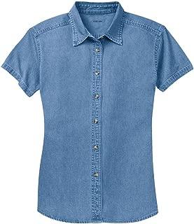 plus size short sleeve denim shirt