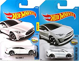 Hot Wheels 2017 New Casting All White Model X #196 Factory Fresh Tesla Model S White Best for track #175 2 car bundle in Protective Cases