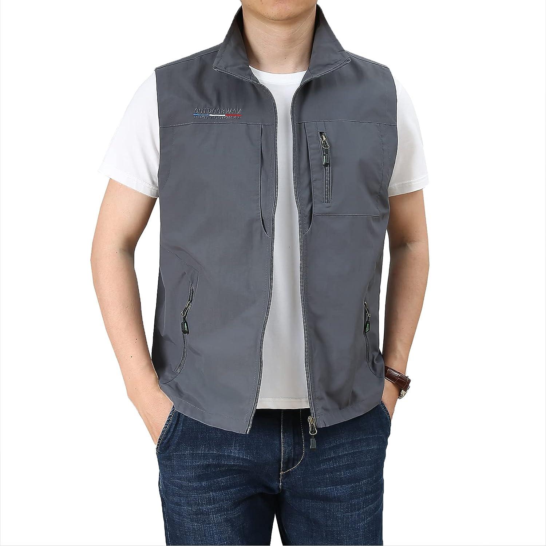 DOSLAVIDA Men's Casual Hunting Fishing Vest Travel Photo Work Vests Outdoor Cargo Sleeveless Jacket With Multi Pockets
