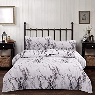 Marble Comforter Set Queen White Gray Marble Printed Bedding Solid Comforter Set for All Seasons, 3 Pieces(1 Comforter+2 Pillowcases),Soft Microfiber Inner Down Comforter Duvet Set