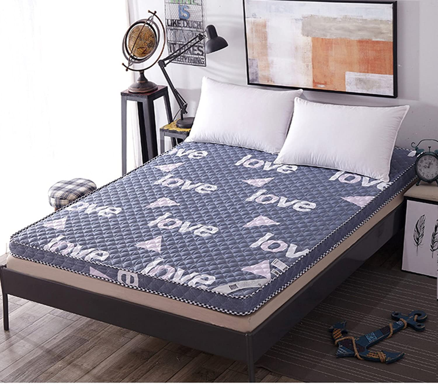 Cotton Breathable Tatami Mattress, Double Bed Predection pad Student Dorm Single futon Mattress Topper Quilted Non-Slip Floor mat-C 150x220cm(59x87inch)