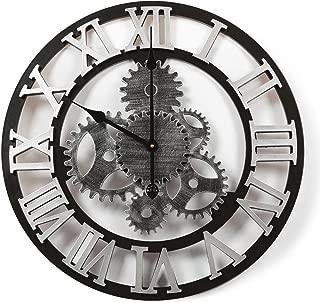 Adeco Clock 3D Retro Rustic Vintage Wooden Luxury Gear Noiseless Wall Clock, Wooden Decoration (22 Inch, Roman-Silver)