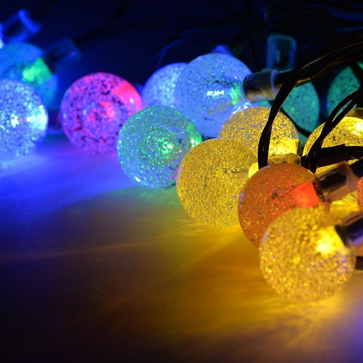 割るボックス講師ソーラーLEDイルミネーションライト バブル型 7m 30球 クリスマス 新年 誕生日 パーティ 装飾 マルチカラー