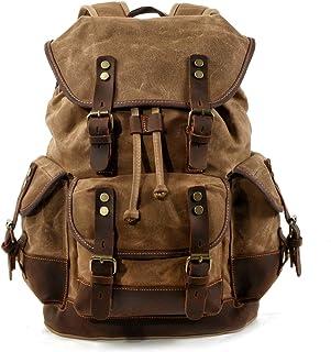 WUDON Men Travel Backpack| Genuine Leather-Waxed Canvas Shoulder Rucksack| Vintage Mountaineering Bag|Heavy Duty| Waterproof| Oversized Highly Spacious Bag for Traveling, Outdoor, Weekender