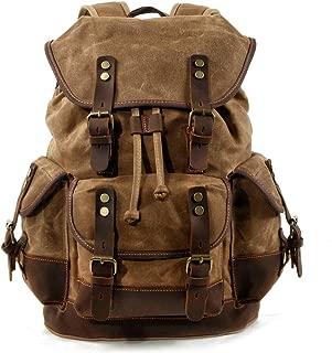 WUDON Men Travel Backpack, Genuine Leather-Waxed Canvas Shoulder Hiking Rucksack