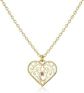 【Amazon.co.jp 限定】[JEWELOUS] JEWELOUS 银色玫瑰石项链(10月)粉红碧玺 NY13838PT